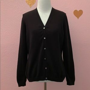 Brooks Brothers Pima Cotton Black Women's Cardigan